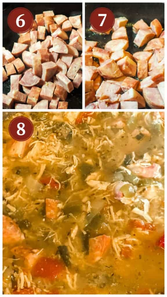 A collage of images showing how to cook andouille sausage for gumbo.
