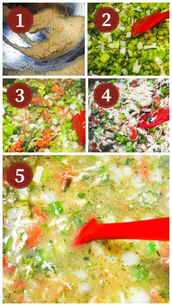 A collage of image showing the process of cooking chicken and sausage gumbo.
