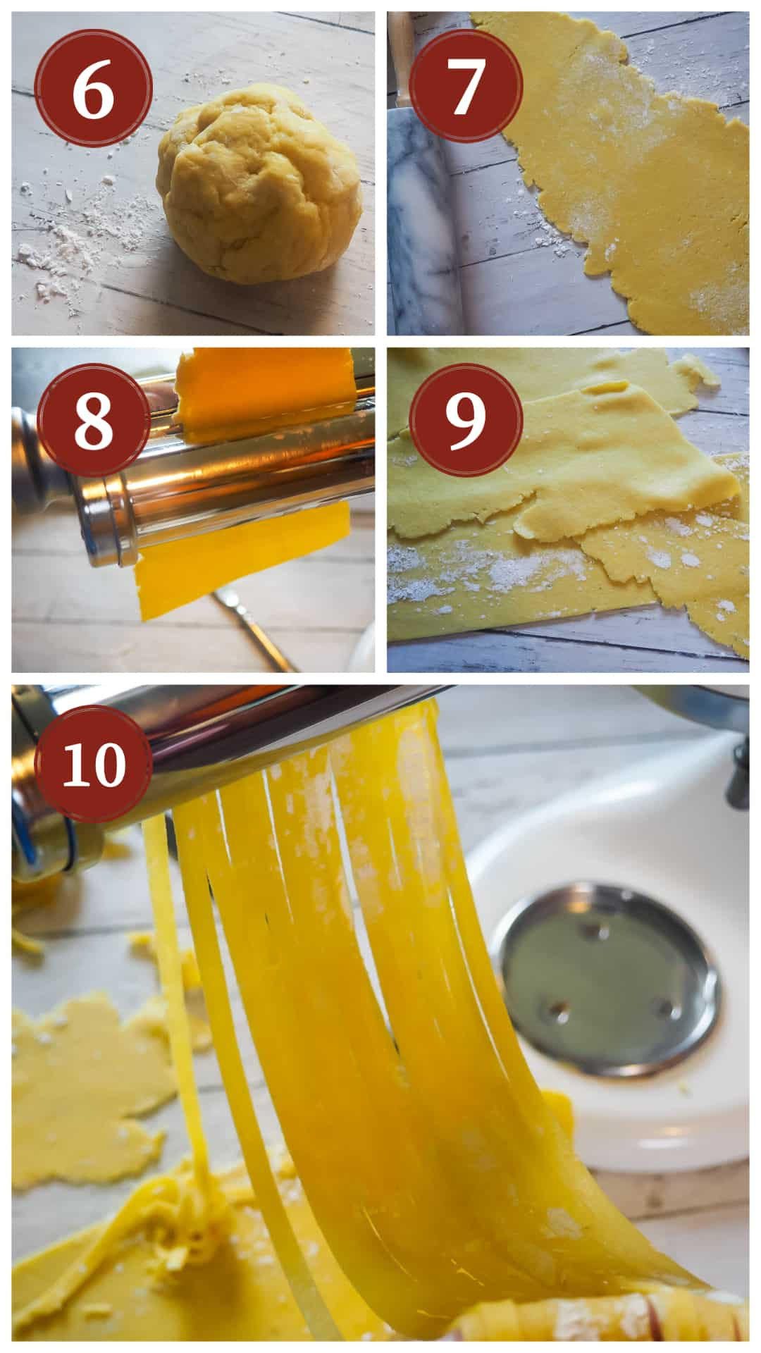 A collage of images showing the process of making homemade paleo pasta, steps 6 - 10.