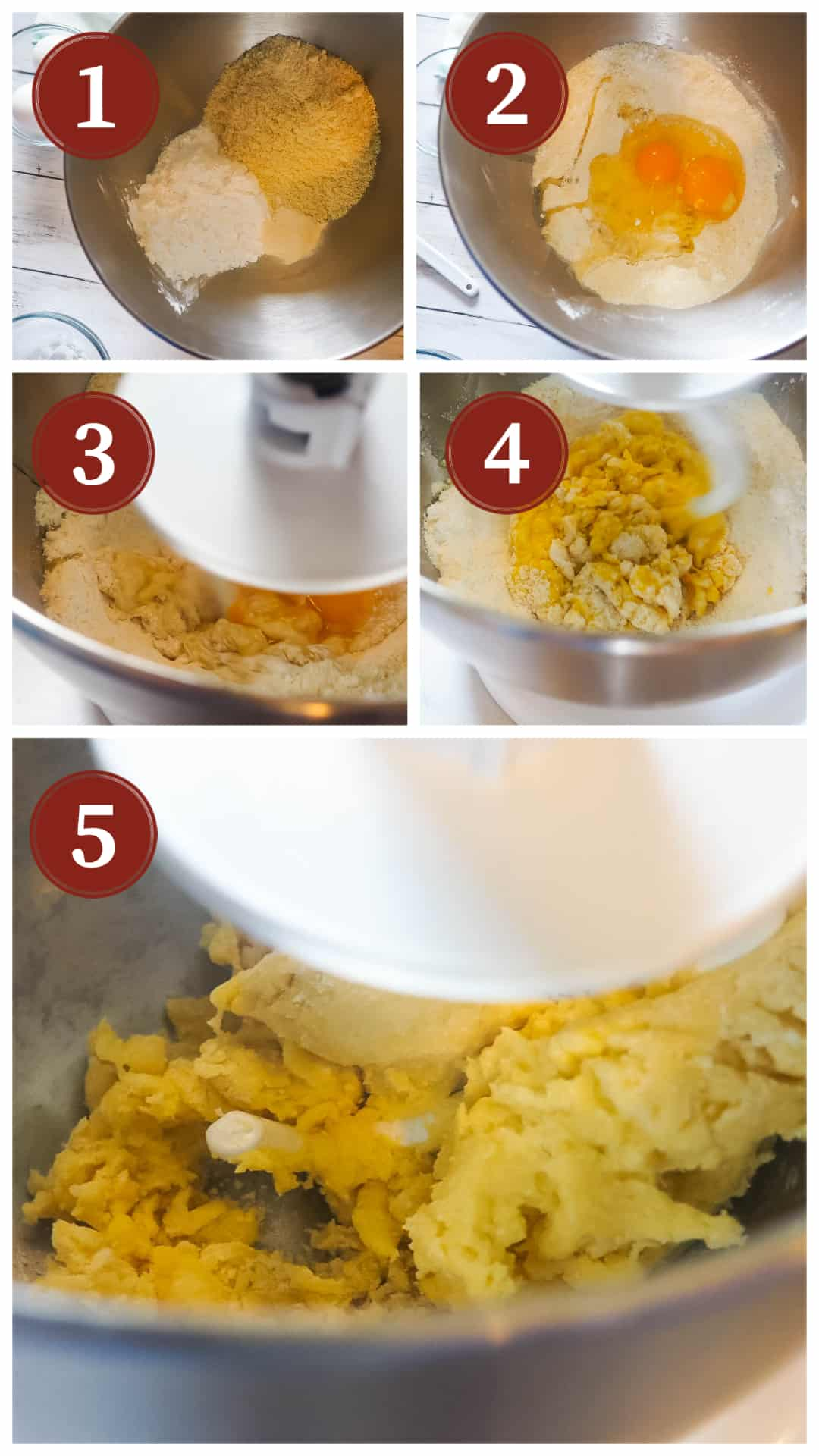 A collage of images showing the process of making homemade paleo pasta, steps 1 - 5.