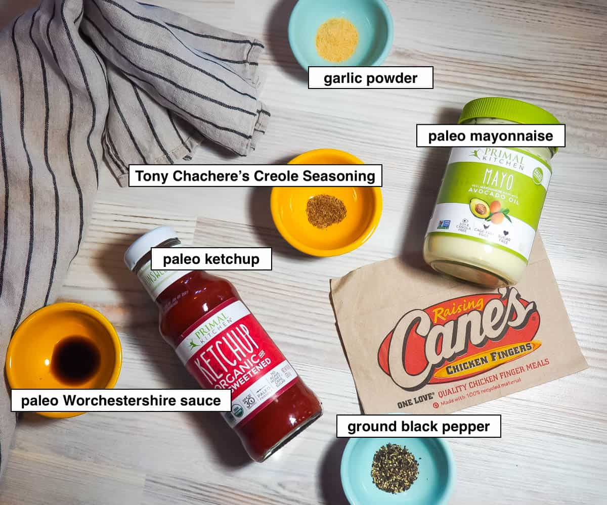 An image of the ingredients in paleo Raising Cane's sauce, labeled.