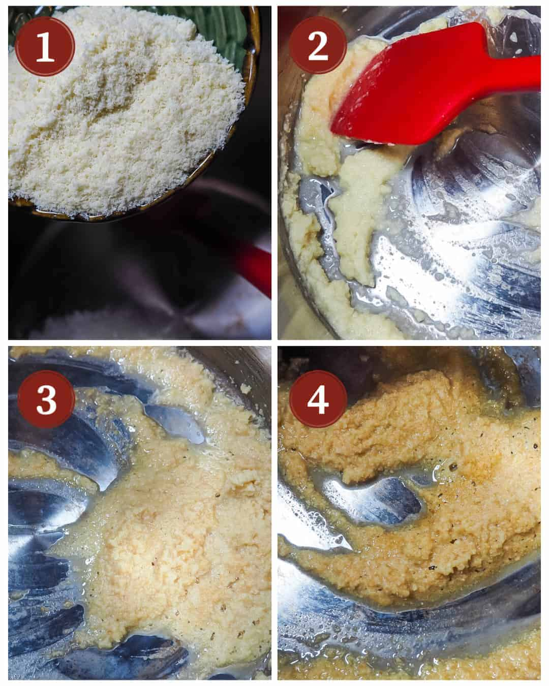 A collage of images showing the steps to perfectly cook a paleo roux for gumbo.