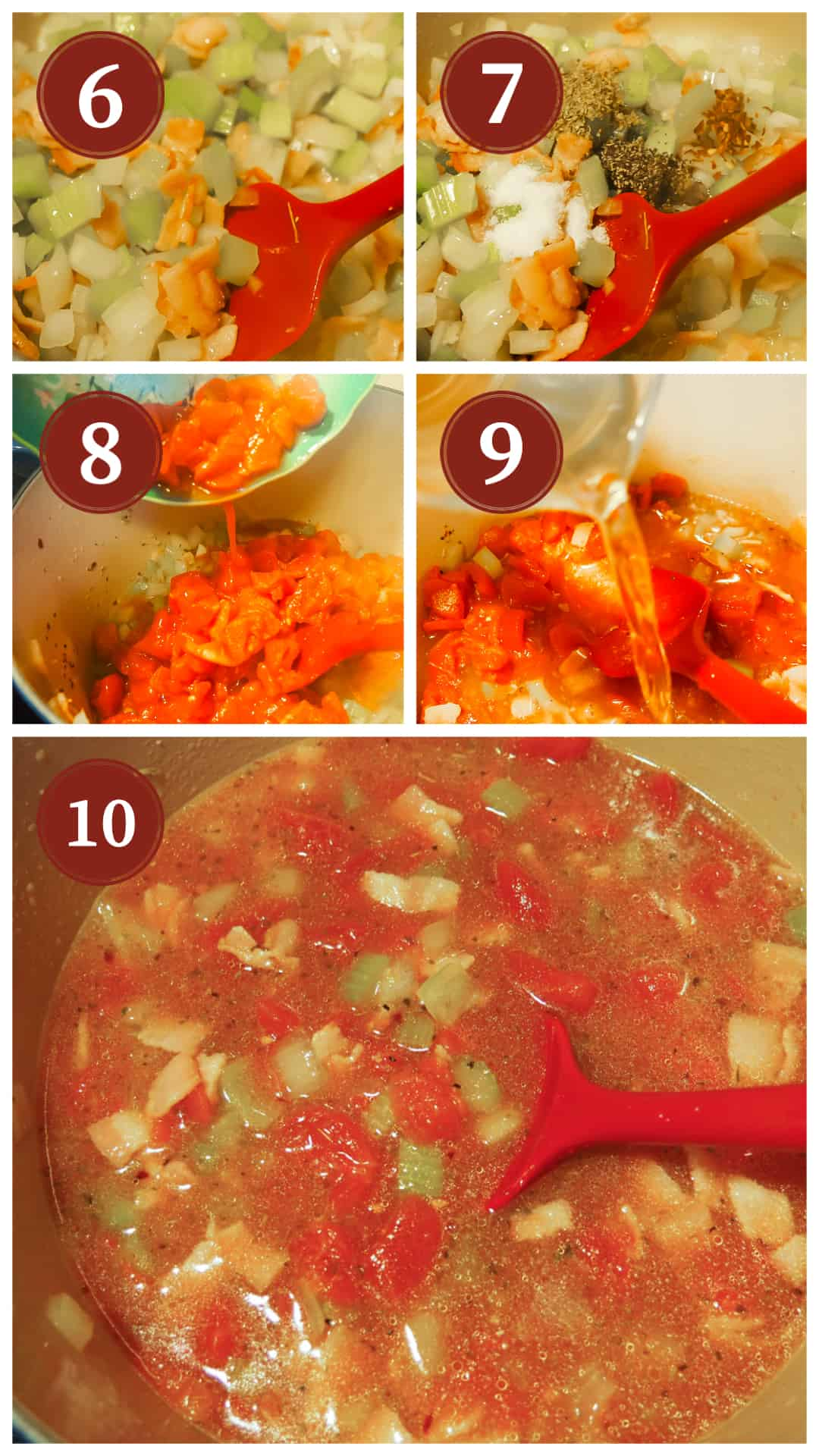 Images of the process of making pasta e fagioli, steps 6 - 10.