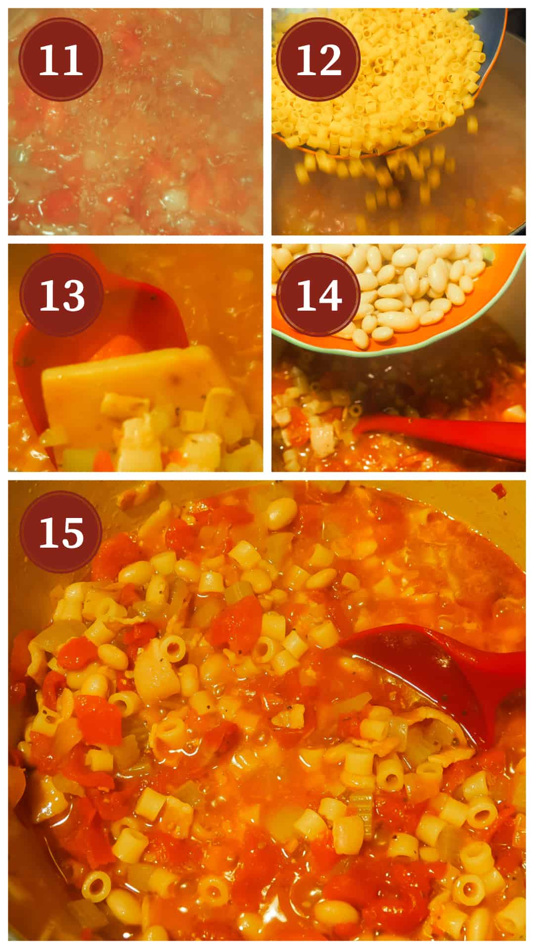 Images of the process of making pasta e fagioli, steps 11 - 15.
