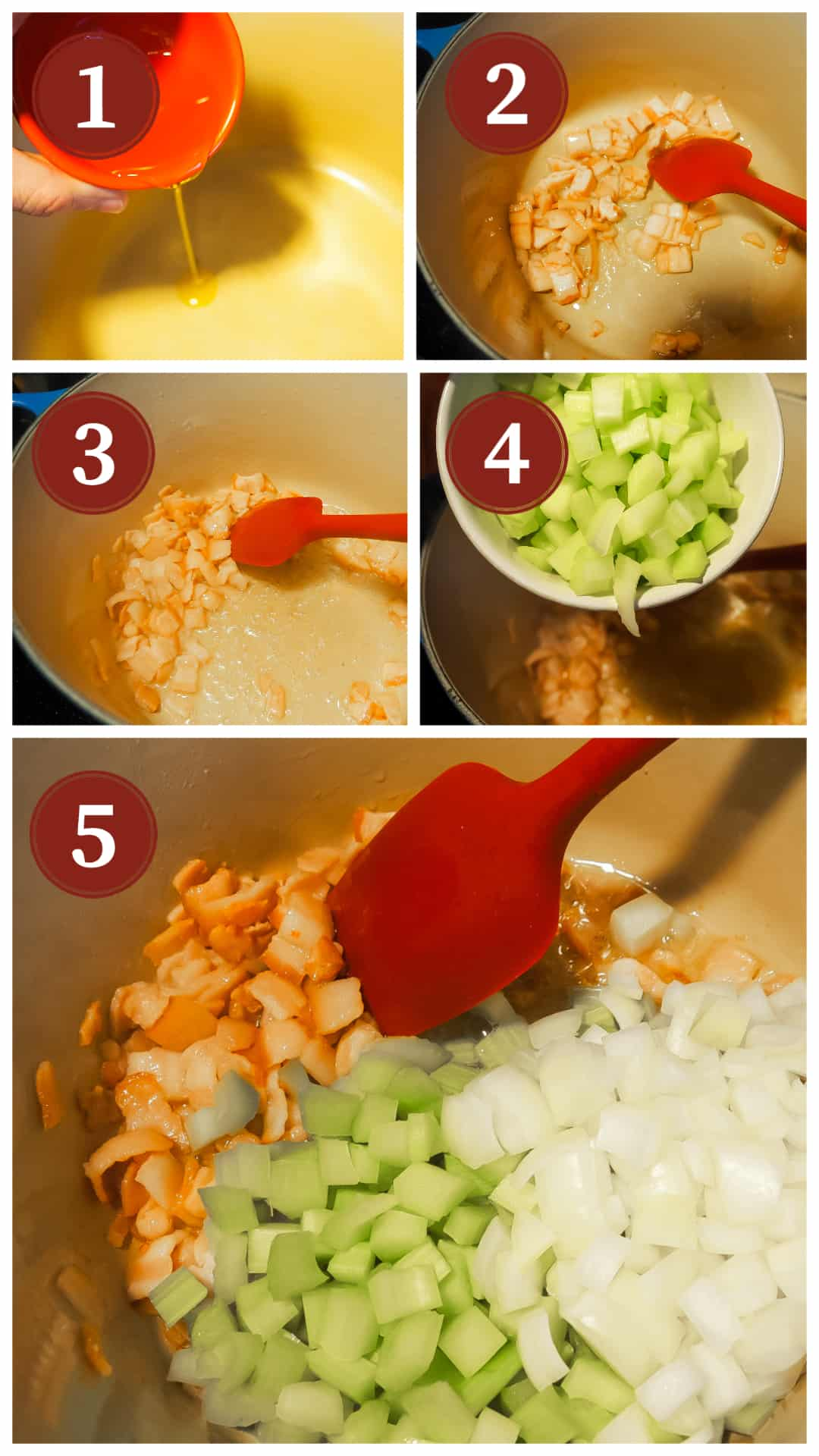 Images of the process of making pasta e fagioli, steps 1 - 5.