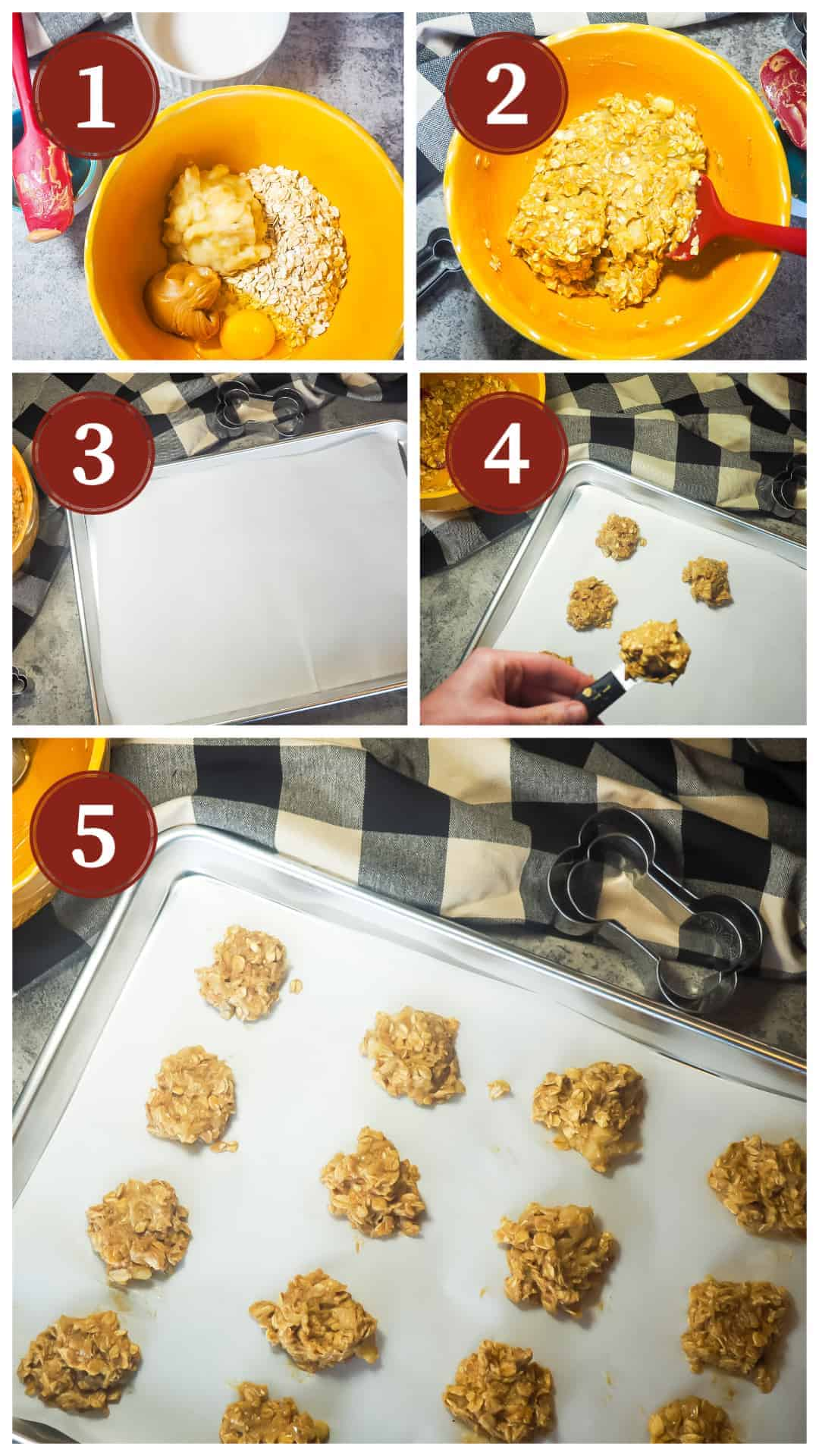 A collage of images showing the process for making homemade peanut butter and banana dog treats. Steps 1 - 5.