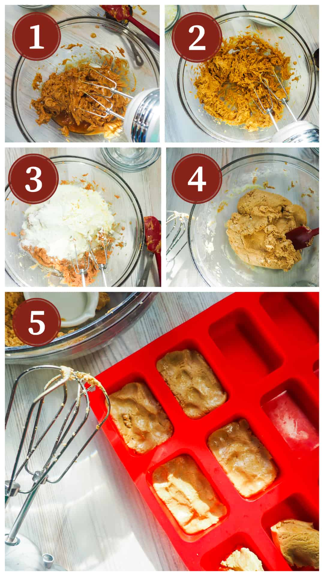 A collage of images showing the process of making peanut butter perfect bars using a glass bowl and a hand mixer.