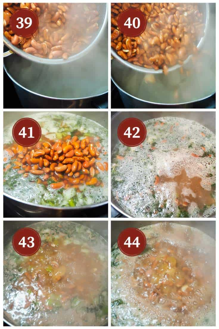 A process collage of images for making red beans, steps 39 - 44. Adding the red beans.