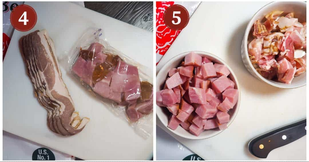 A process collage of images for making red beans, steps 4 - 5. Sliced bacon and diced seasoning ham.