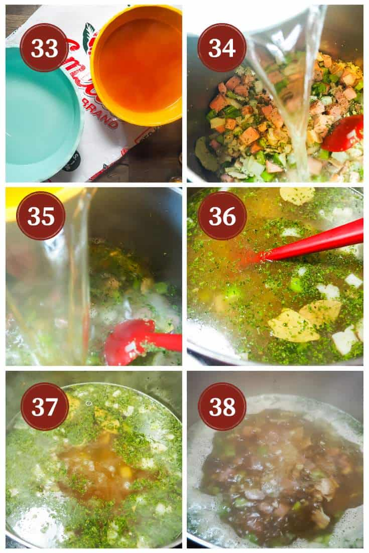 A process collage of images for making red beans, steps 33 - 38. Adding the liquid to the pot.