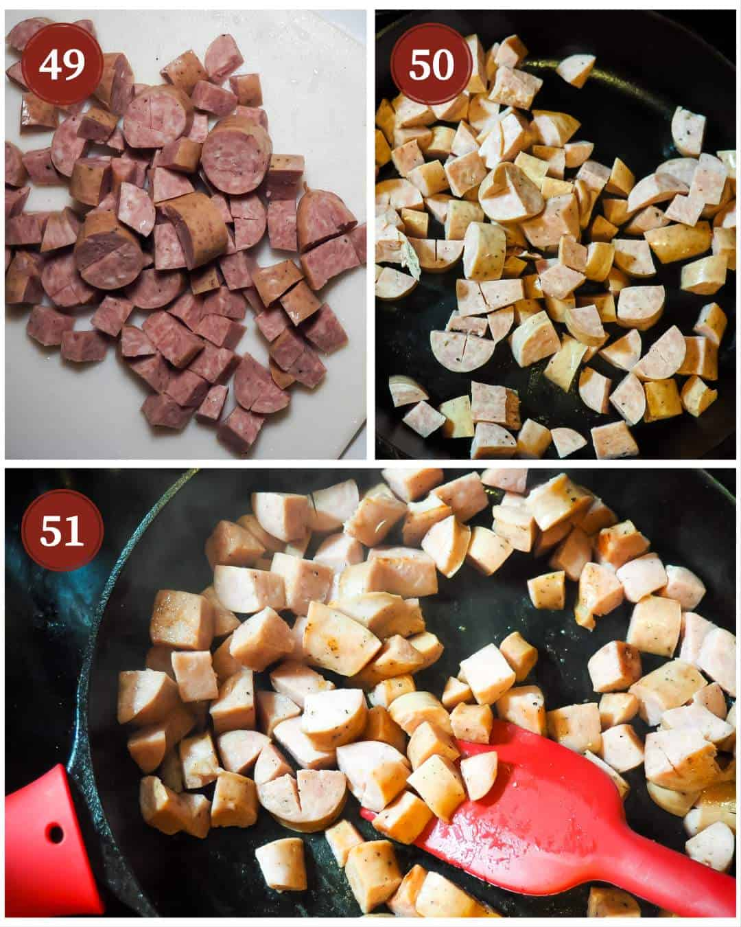 A process collage of images for making red beans, steps 49 - 51. Diced smoked sausage.