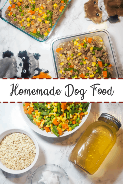 A pin image of two glass containers of homemade dog food on a marble background with three dog toys on the top half and the ingredients to cook homemade dog food on the bottom.