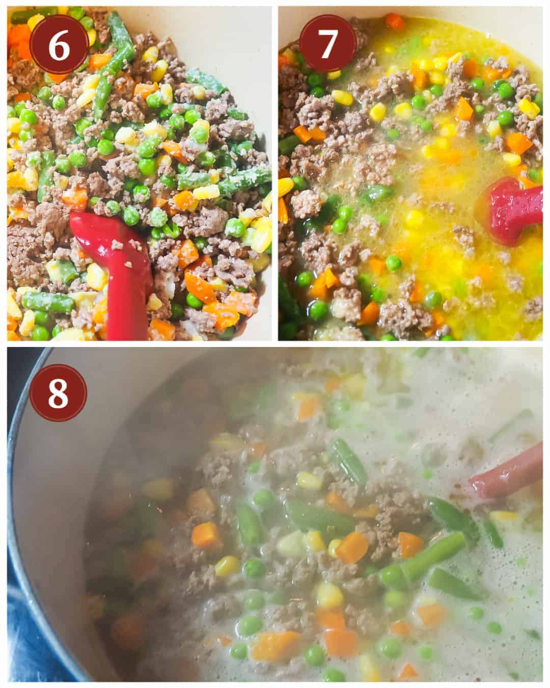A process collage of images for making homemade dog food, steps 8 - 9.