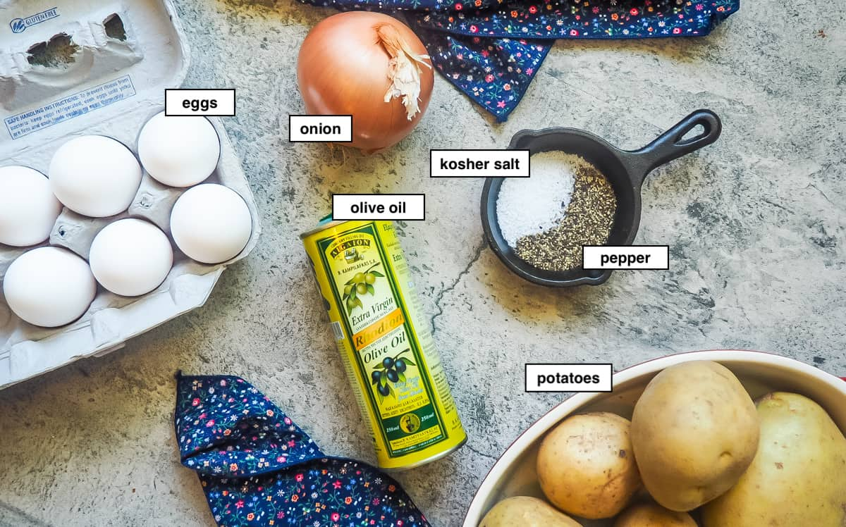 The ingredients of a Spanish tortilla, labeled.