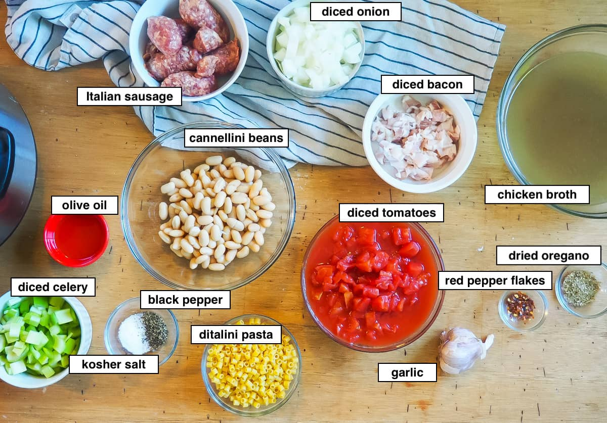 A picture of the ingredients in instant pot pasta e fagioli, labeled.