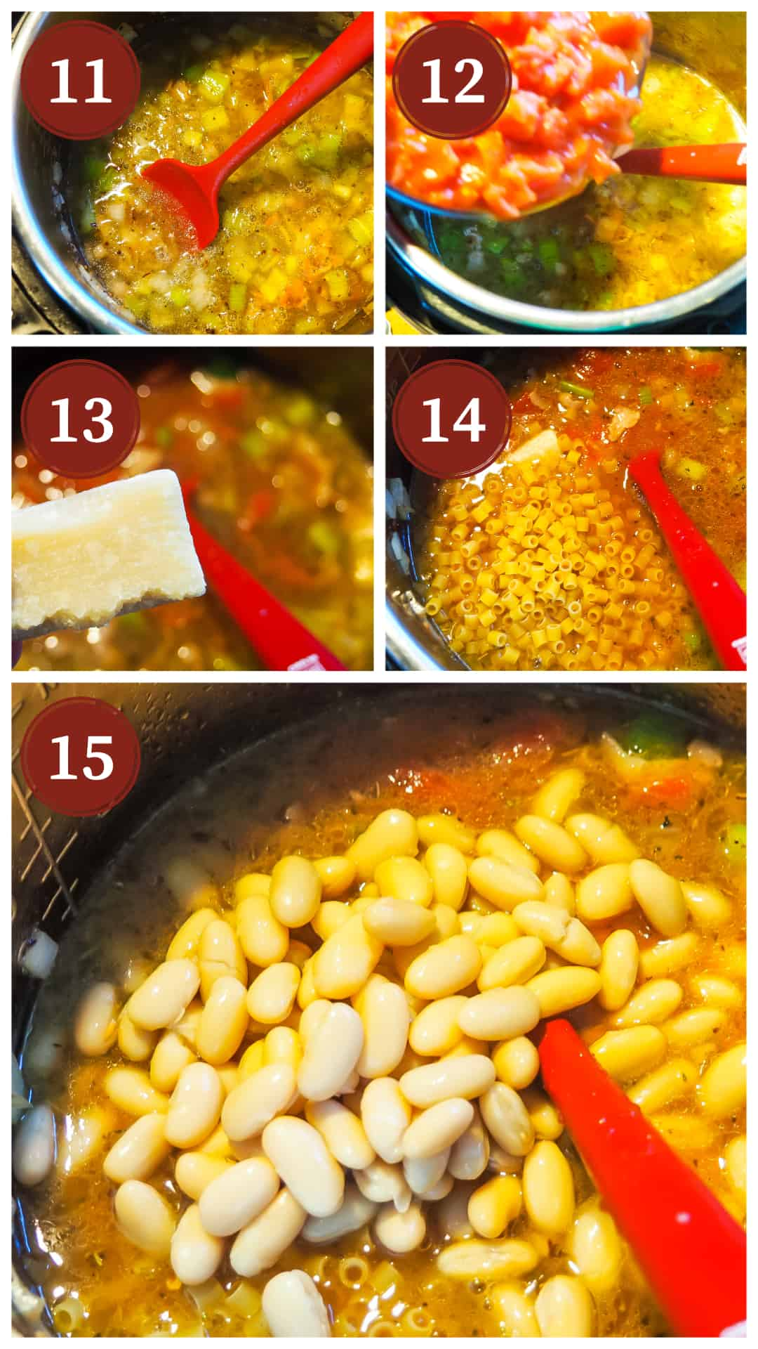 A process collage of images for making pasta e fagioli in an instant pot, steps 11 - 15.