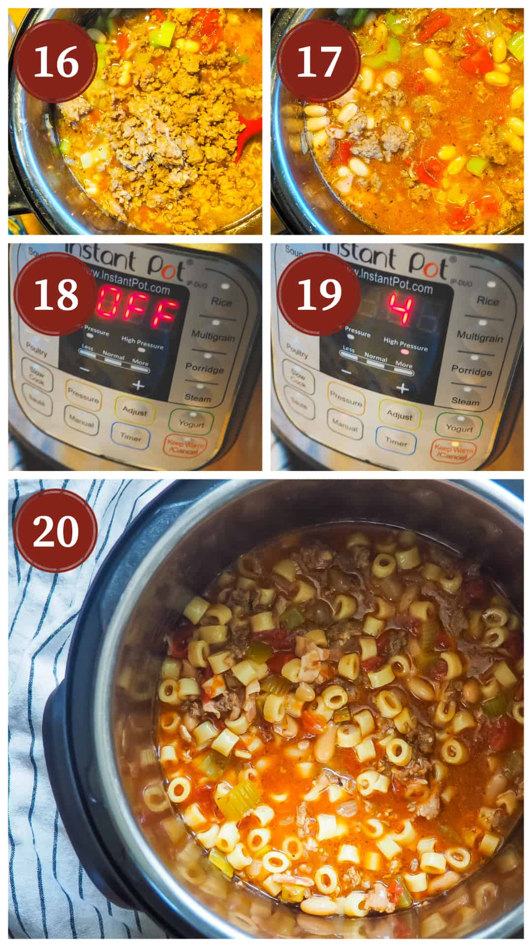 A process collage of images for making pasta e fagioli in an instant pot, steps 16 - 20.