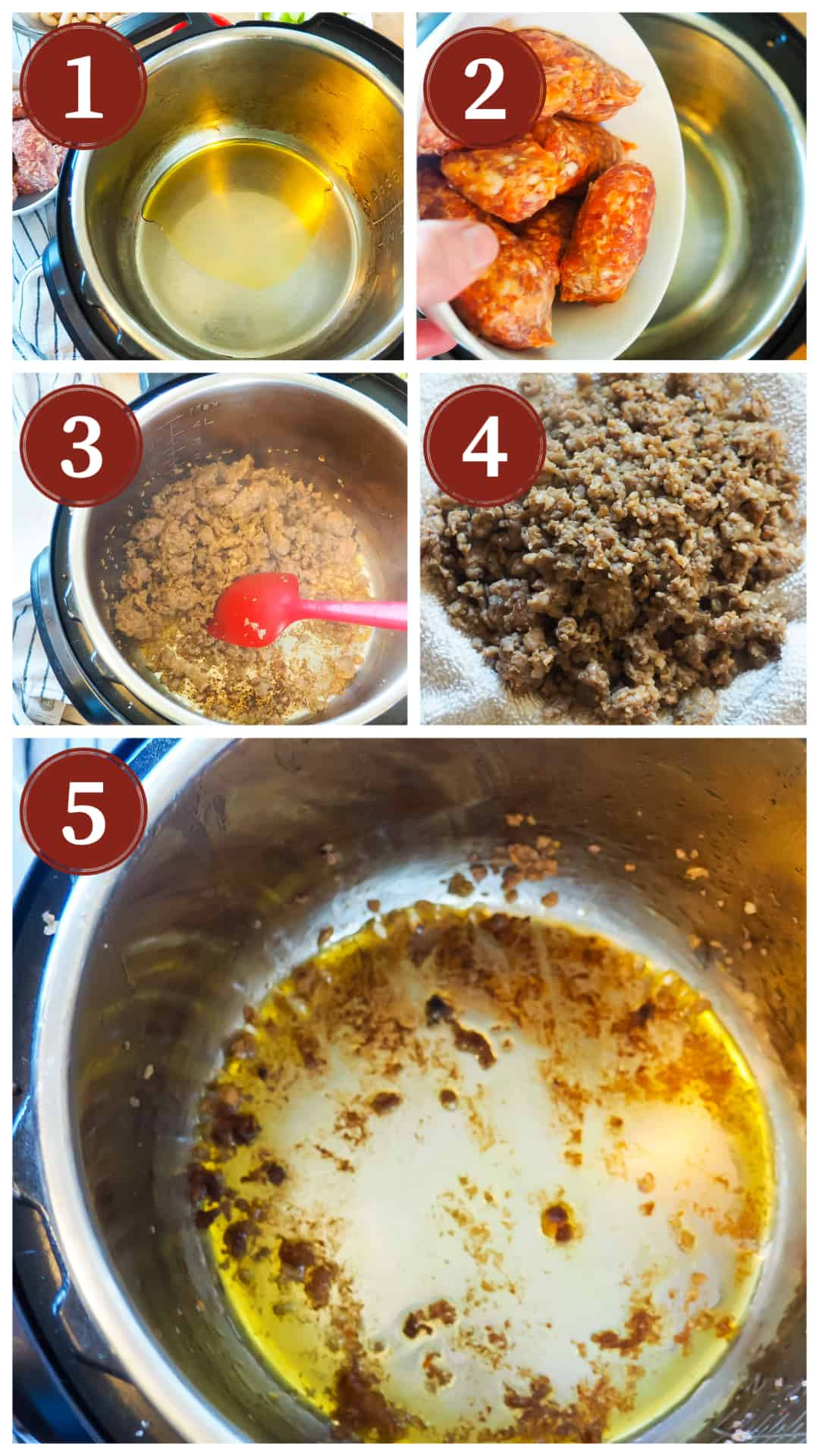 A process collage of images for making pasta e fagioli in an instant pot, steps 1 - 5.