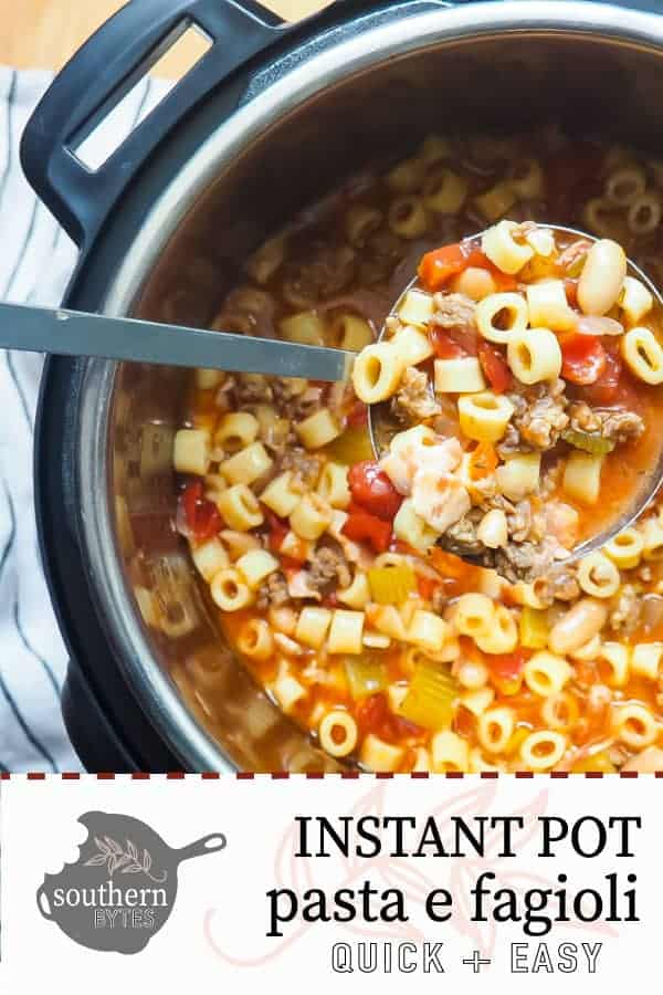 A pin image of an instant pot filled with pasta e fagioli and a ladle scooping some out.