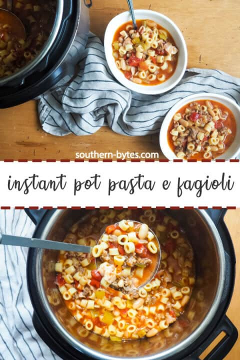 A pin image of an instant pot of pasta e fagioli on the bottom and two white bowls of pasta e fagioli next to an instant pot with a gray and blue dishtowel on the top.