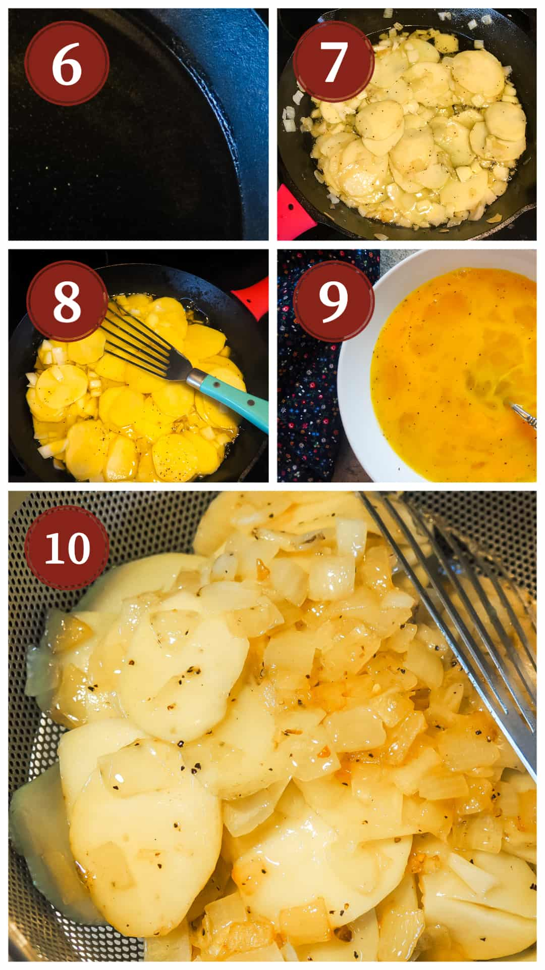 A collage of images showing the process of making a Spanish tortilla, steps 6 - 10.