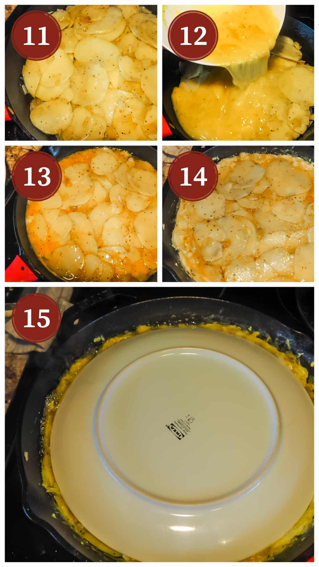 A collage of images showing the process of making a Spanish tortilla, steps 11 - 15.