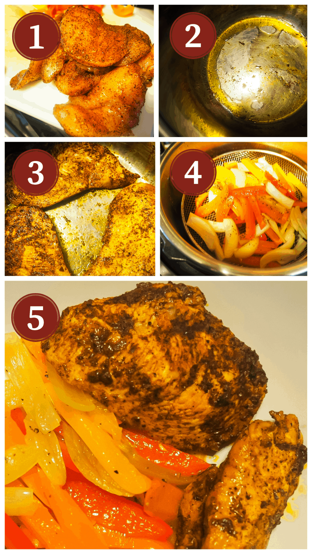 A collage of the process of making taco chicken in an Instant Pot, steps 1 - 5.