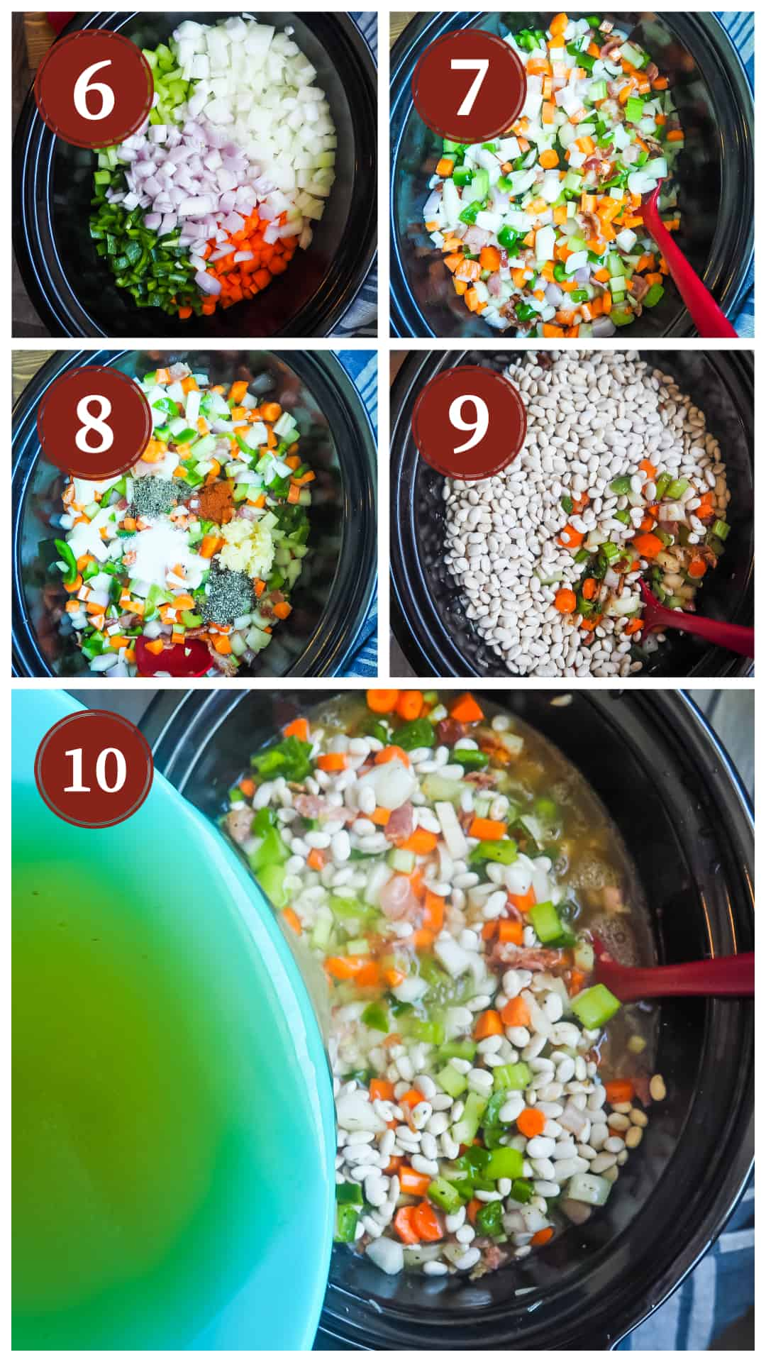 Images showing the process of cooking white beans and ham in a slow cooker, steps 6 - 10.