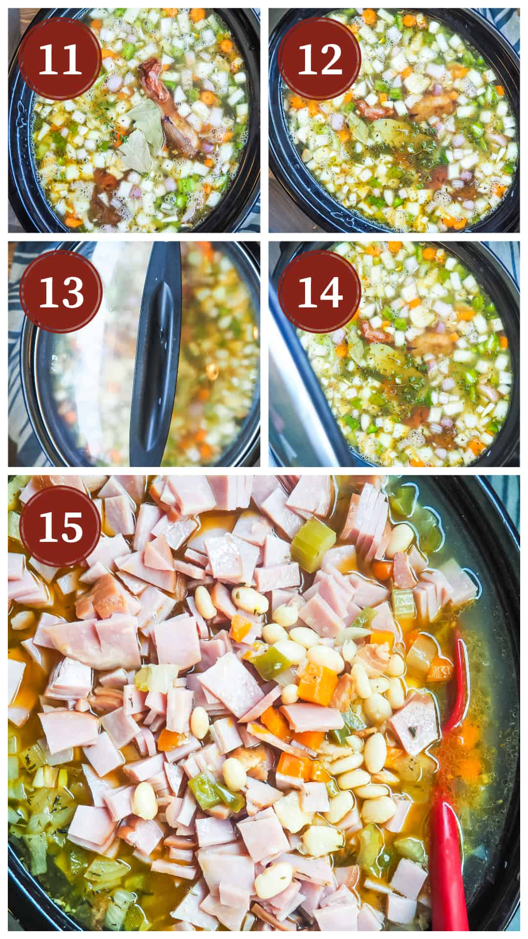 Images showing the process of cooking white beans and ham in a slow cooker, steps 11 - 15.