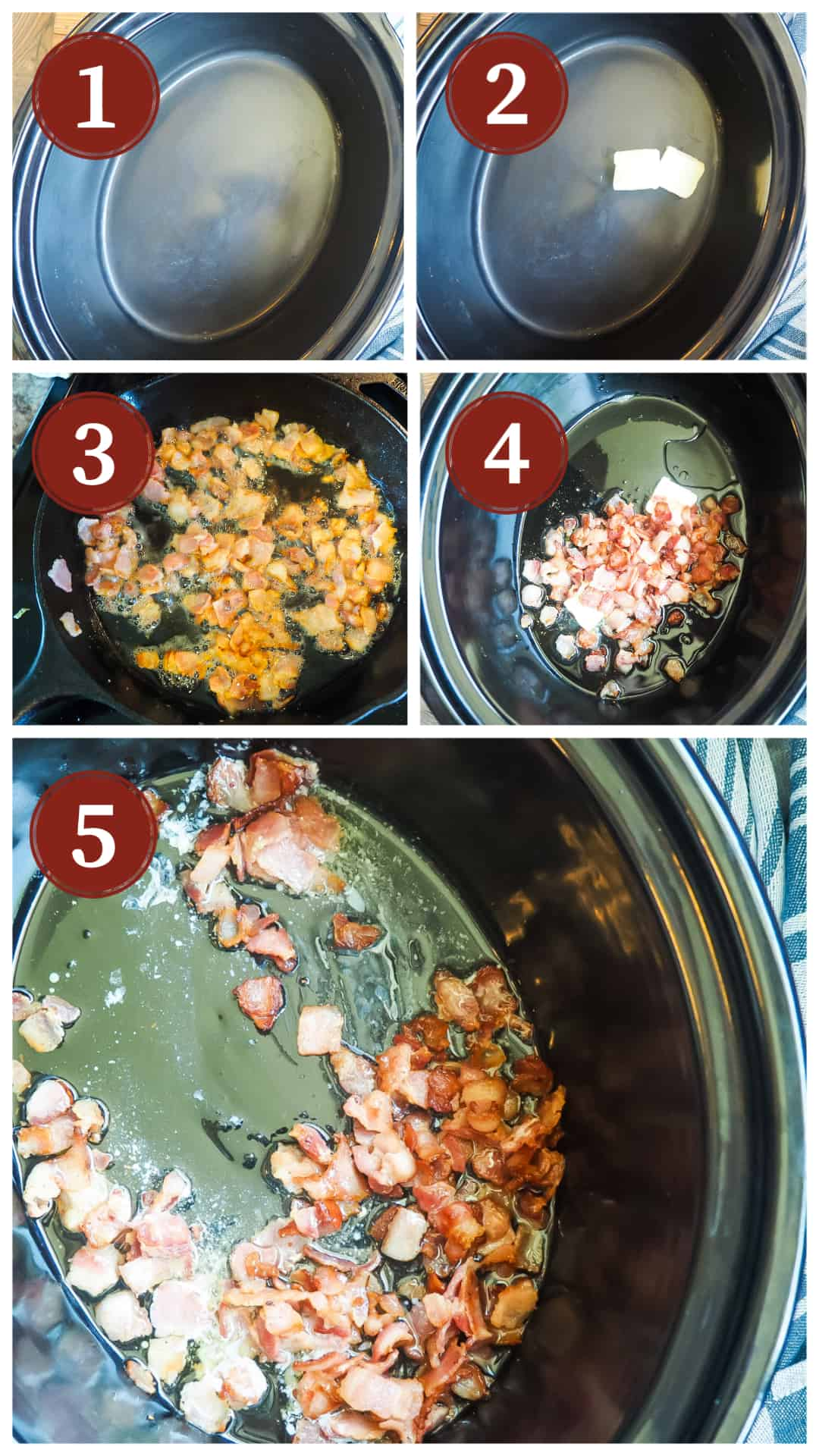 Images showing the process of cooking white beans and ham in a slow cooker, steps 1 - 5.