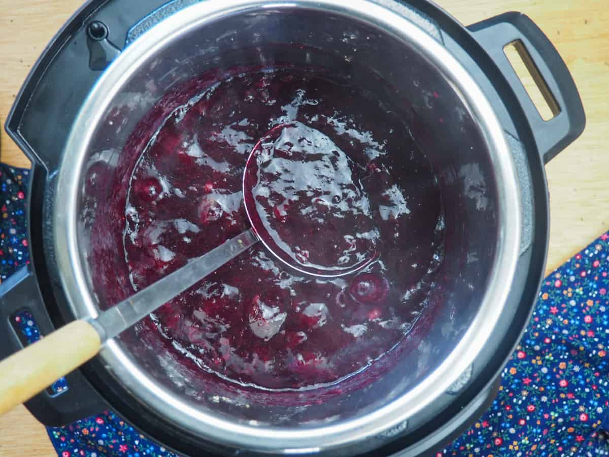 A spoon scooping paleo blueberry jam out of an Instant Pot.