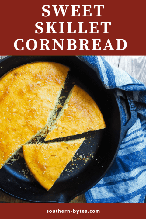 A pin image of a cast-iron skillet with slices of cornbread in it.