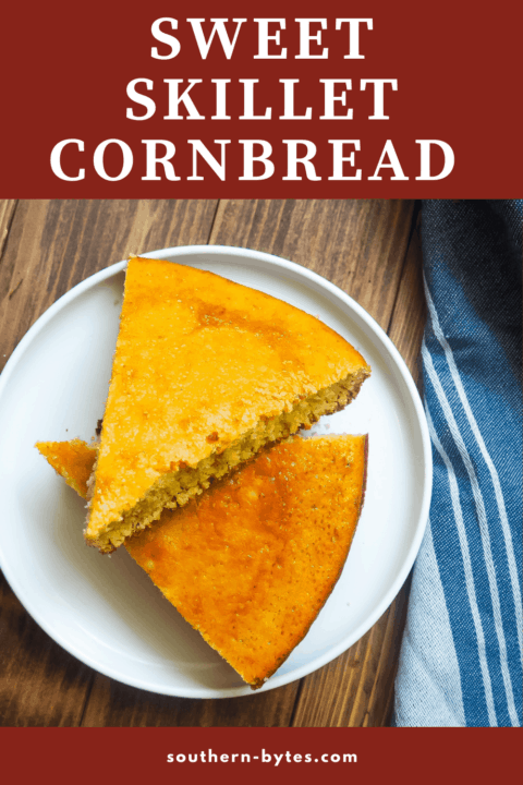 A white plate with slices of cornbread on it on a wooden background.