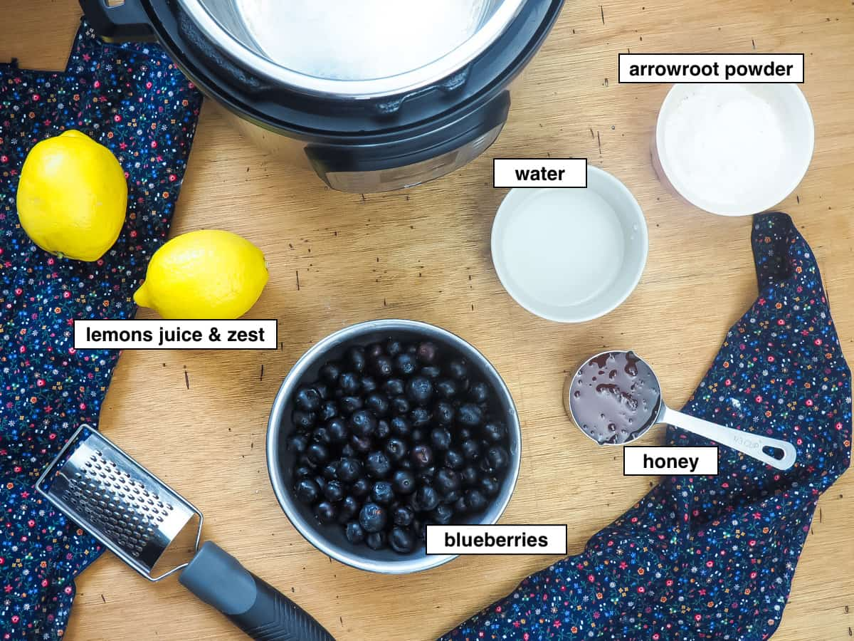 A picture of the ingredients of paleo blueberry jam on a wood board, labeled.