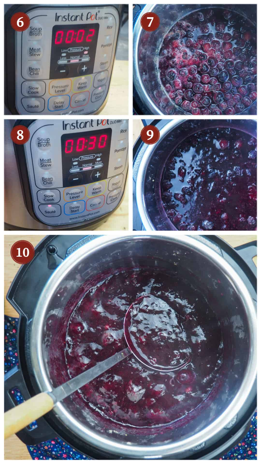 A collage of images showing the process of making paleo blueberry jam in an Instant Pot, steps 6 - 10.