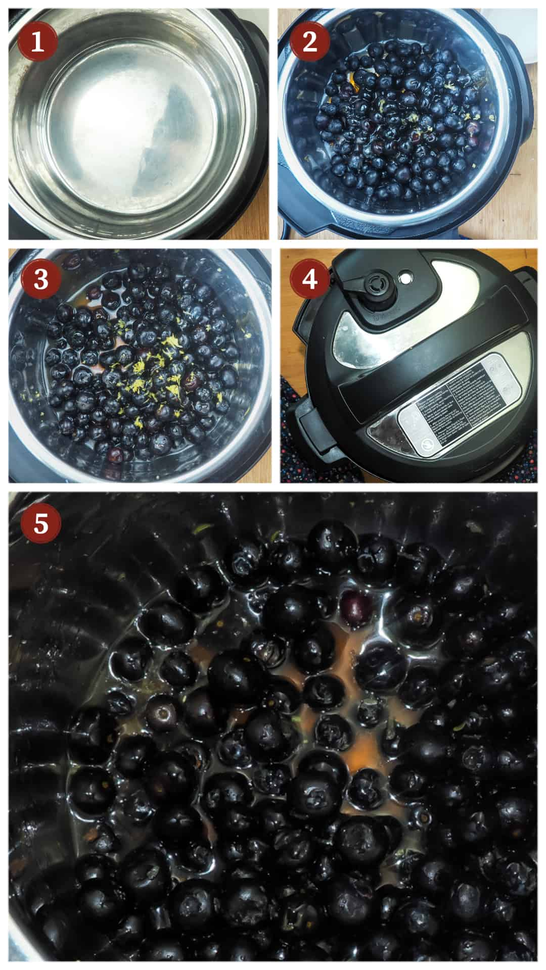 A collage of images showing the process of making paleo blueberry jam in an Instant Pot, steps 1 - 5.