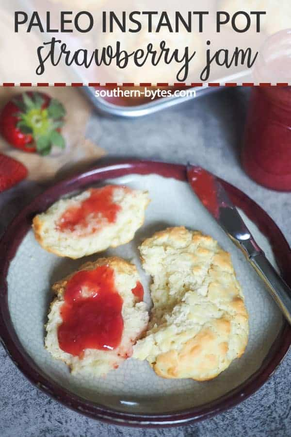 A pin image of some drop biscuits with strawberry jam spread on them.