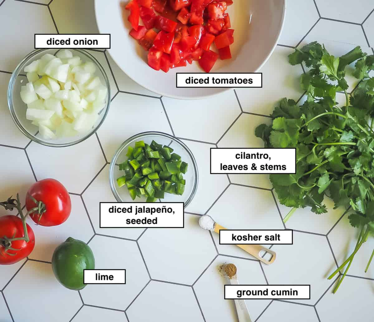 A picture of the ingredients in homemade salsa on a tiled background, labeled.