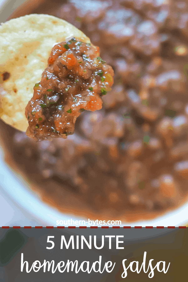 A pin image of a chip dipped in homemade salsa.