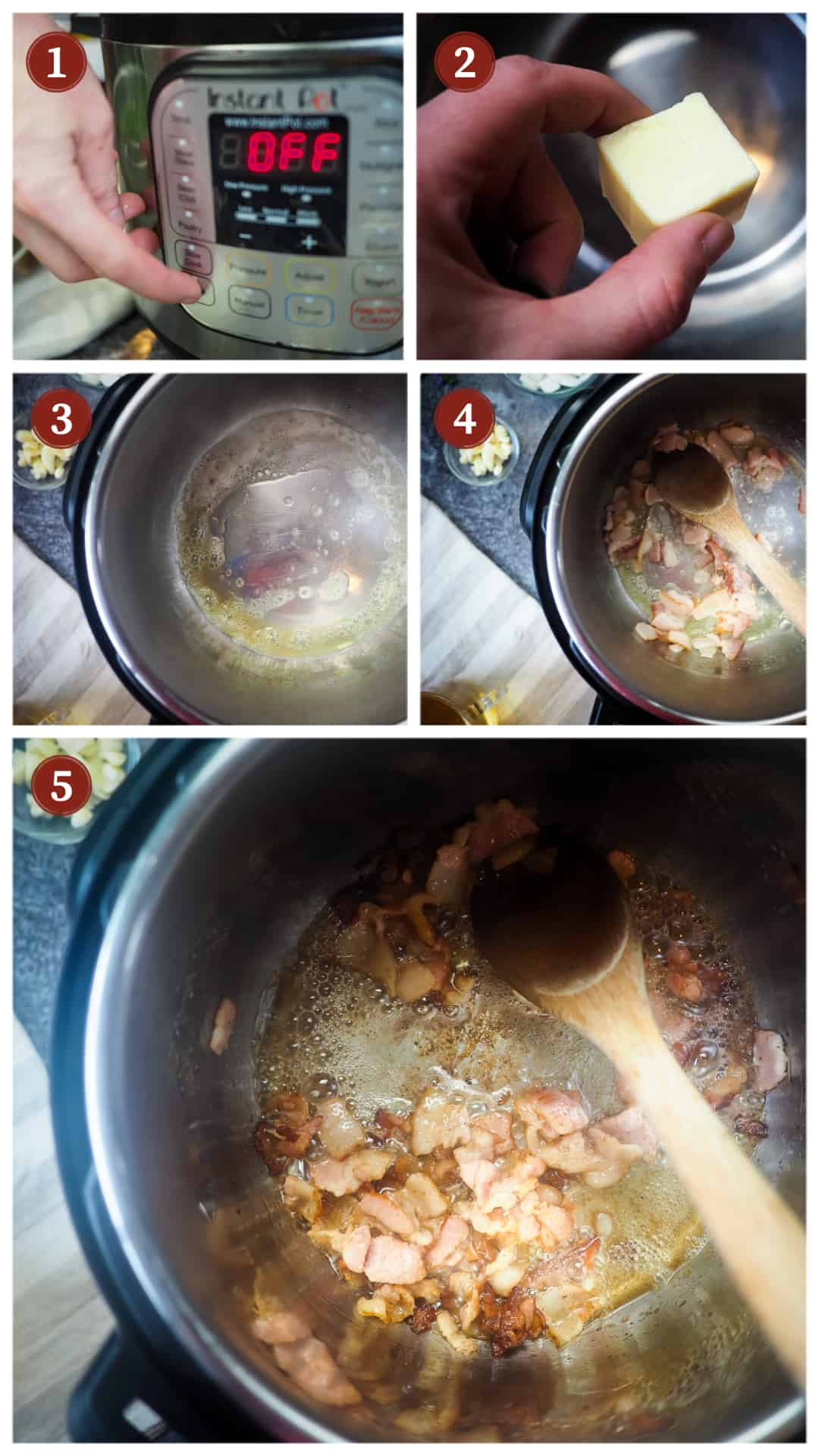 A collage of images showing the process of making southern green beans in an Instant Pot, steps 1 - 5.