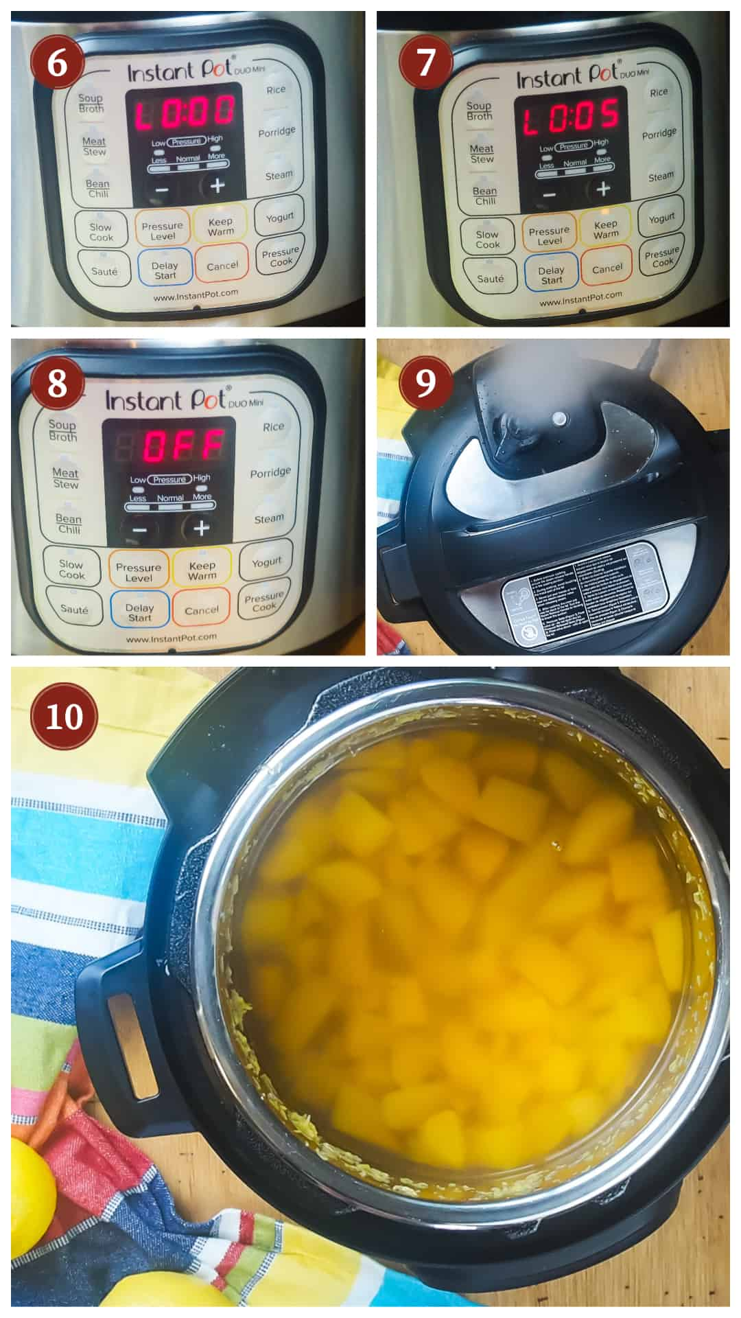 A collage of images showing the process of making peach lemonade in an Instant Pot, steps 6 - 10.
