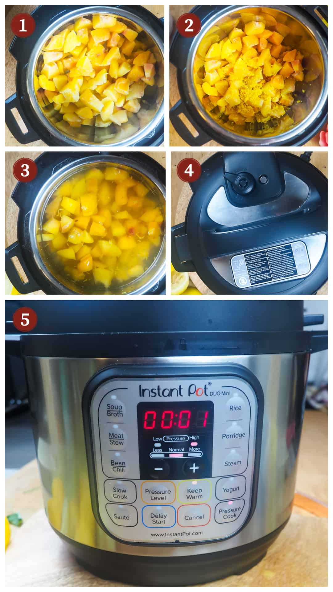 A collage of images showing the process of making peach lemonade in an Instant Pot, steps 1 - 5.