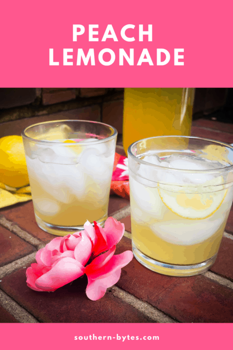 A pin image of two glasses of peach lemonade with a pink flower on brick stairs.