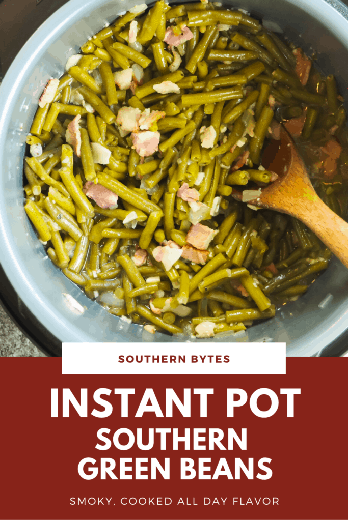 A pin image of an instant pot with cooke southern green beans in it and a wooden spoon.