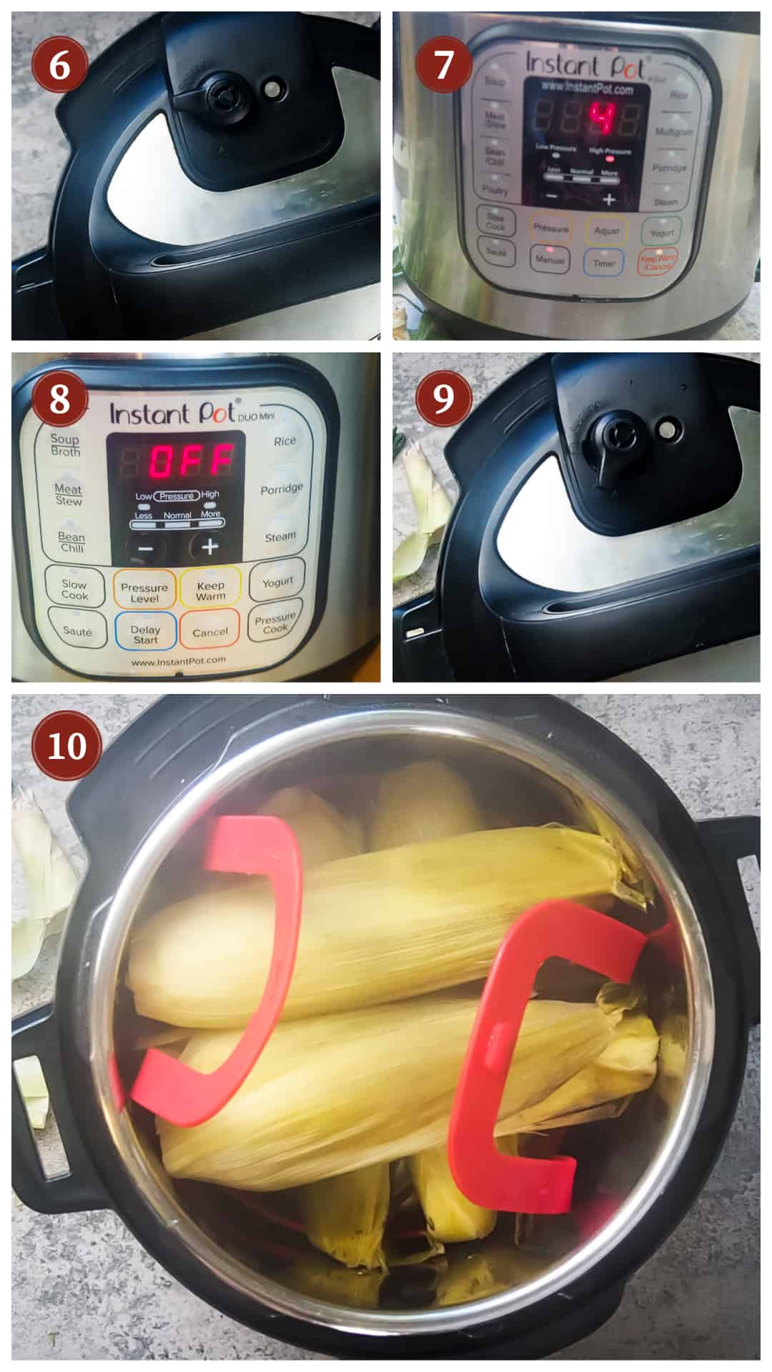 a process collage of cooking corn on the cob in an instant pot, steps 6 - 10