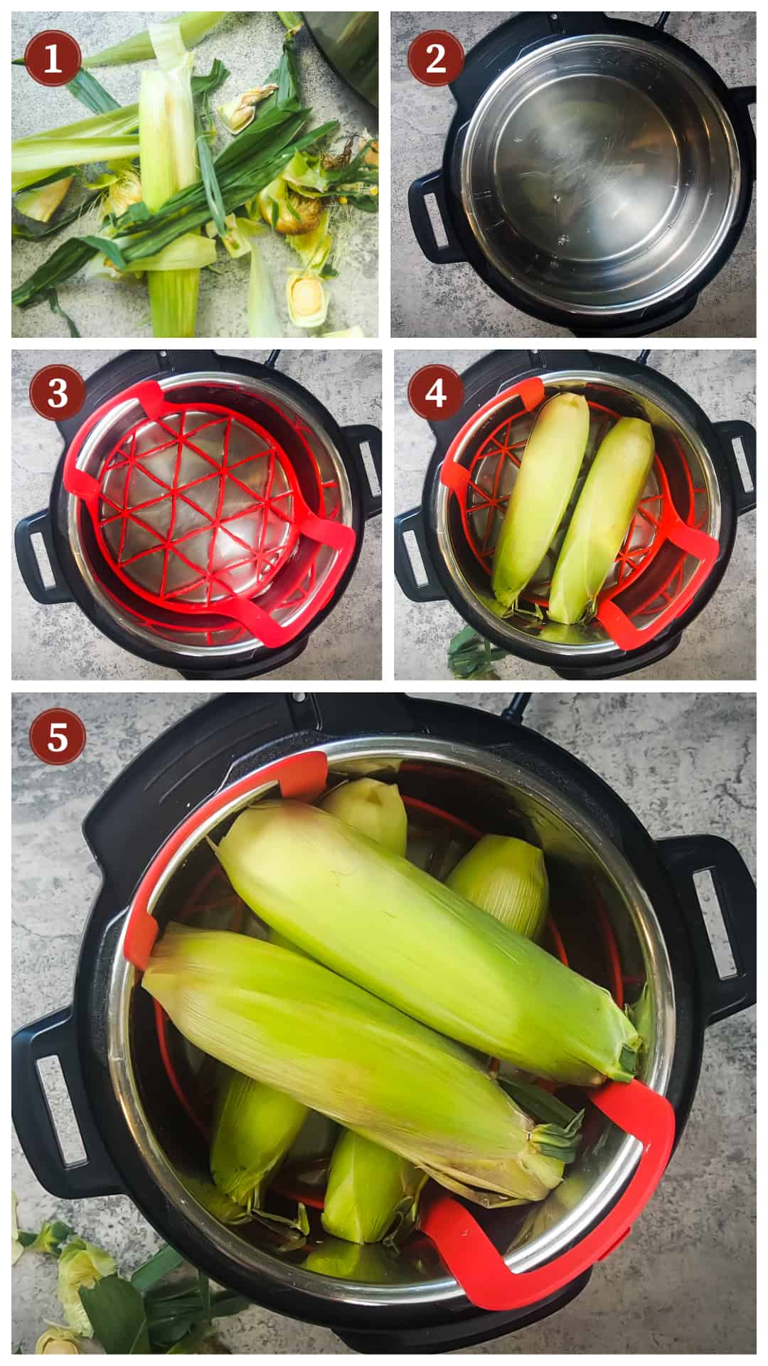 a process collage of cooking corn on the cob in an instant pot, steps 1 - 5