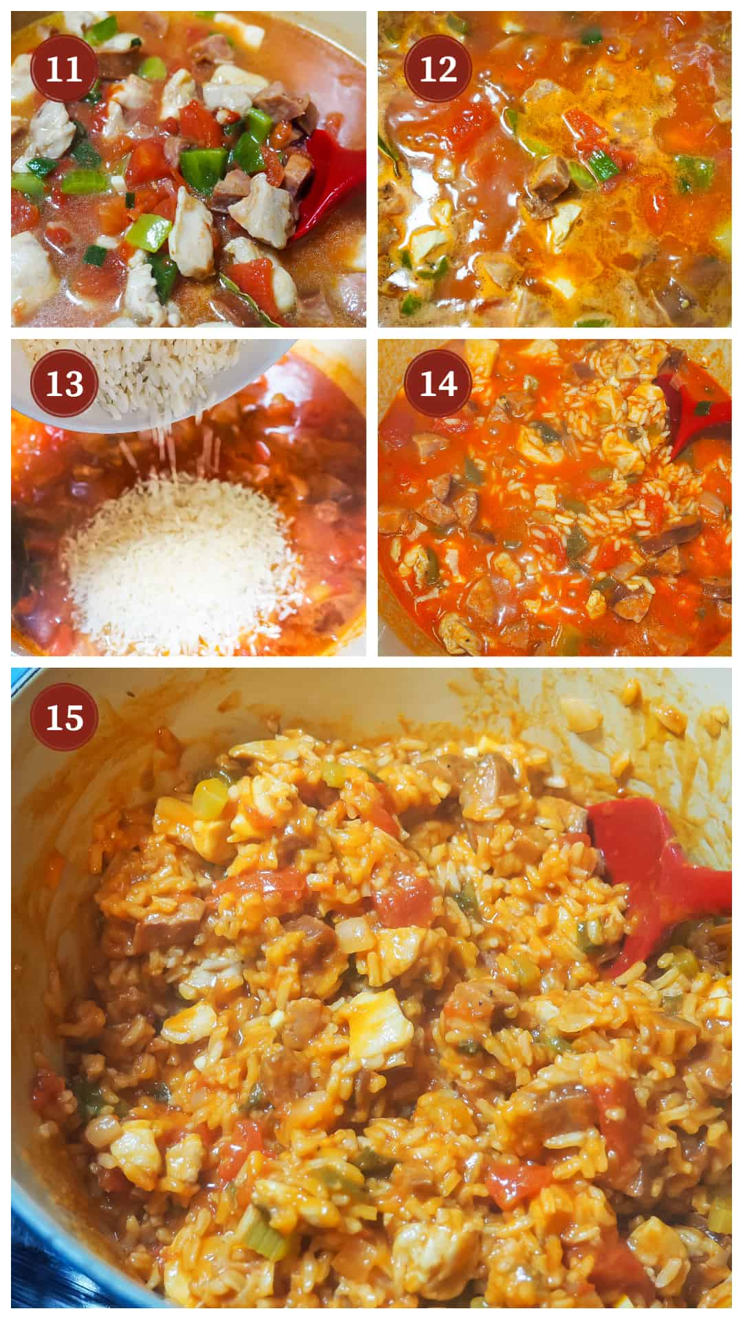 a process collage of images for making jambalaya, steps 11 - 15.