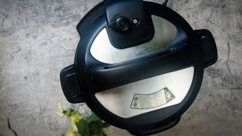 an instant pot from the top with the vent closed