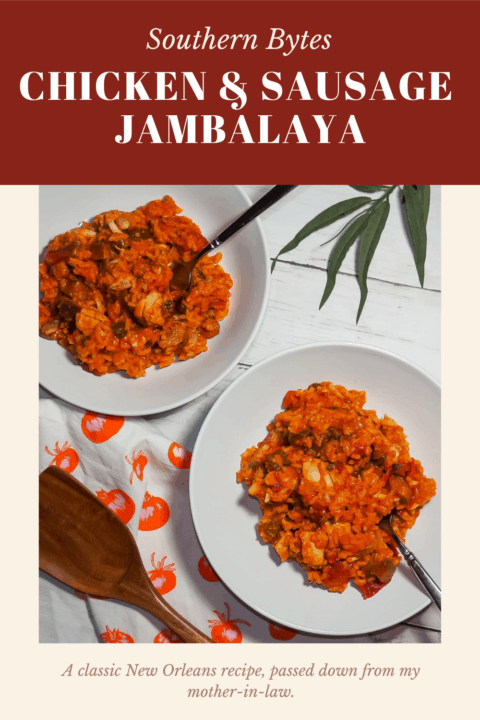 a pin image of creole jambalaya