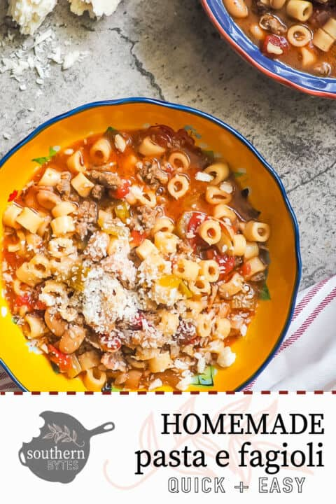 a pin image of a blue and yellow bowl of pasta e fagioli